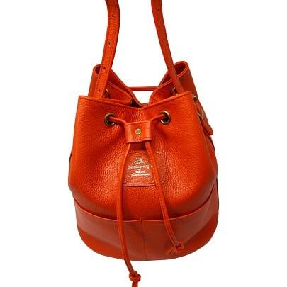 Orange Leather Bucket bag