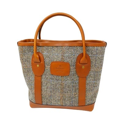 Tote Bag Tan Harris Tweed & Leather
