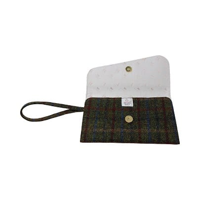Clutch Bag Burgundy Harris Tweed