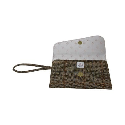 Clutch Bag Tan Harris Tweed Interior