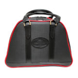 Black and Red Carbon Fibre Leather Helmet Bag