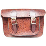 15 inch Brown Ostrich Satchel
