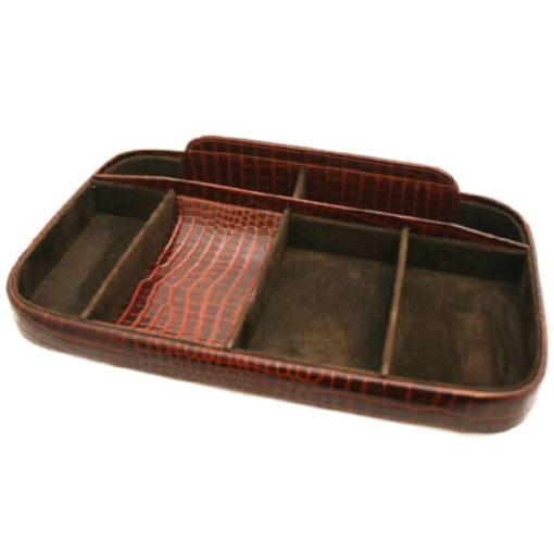 Brown Nile Croc Effect Leather Night Tray