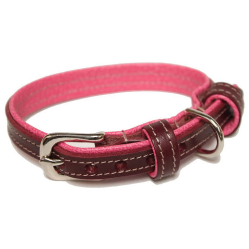 Burgundy and Pink Leather Dog Collar