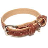 Chestnut and Beige Leather Dog Collar