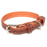 Chestnut and Orange Leather Dog Collar