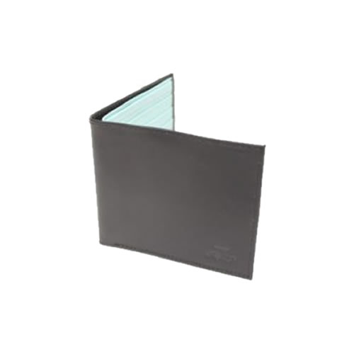 Luxury Black with Light Blue Leather Billfold Wallet