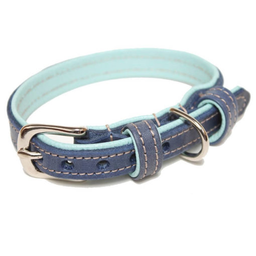 Navy and Light Blue Leather Dog Collar
