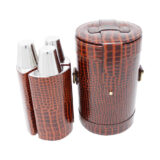 Brown Nile Croc Effect Leather Triple Bar Set