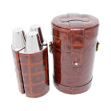 Brown King Croc Effect Leather Triple Bar Set
