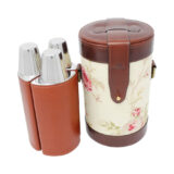 Rose Pattern and Leather Trim Triple Decanter Bar Set